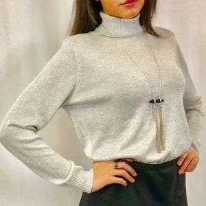 Silver Long Sleeve Turtle-neck